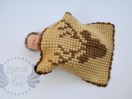 """Deer Head Crochet Blanket 16 1/2"""" x 19"""""""