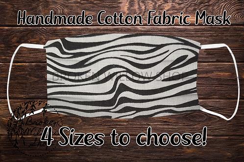 Zebra Stripes 100% Cotton Face Mask