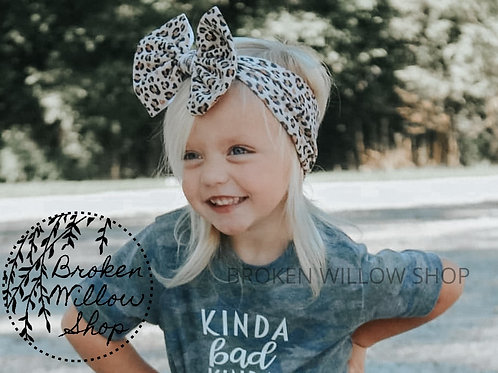 Any Sizes Leopard Print Fabric Knit Head Wrap, Baby Big Bow, Headwrap, Bow