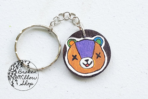 RTS Stitches Animal Crossing Bear Hand painted Wooden Keychain