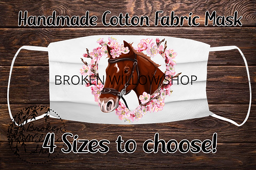 Sublimated Horse Heart Flowers 100% Cotton Face Mask