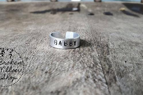 """Custom Aluminum Ring 1/4"""" x 2 1/4"""", Ring Sizes 7-9"""
