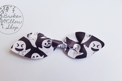 Halloween Ghost Faux Leather Knot Bow