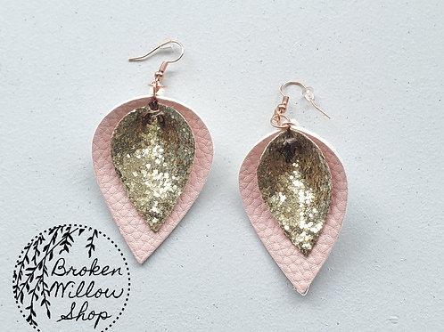 Gold Glitter and Pink Faux Leather Teardrop Earrings