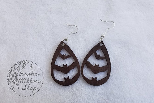 Flying Bats Bass Wood Teardrop Earrings