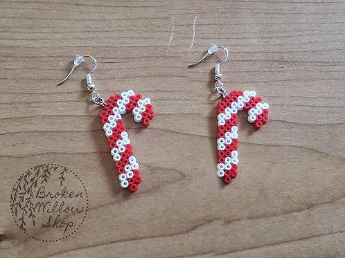 Little Candy Cane Mini Perler Earrings