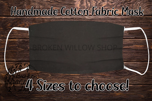 Black Handmade 100% Cotton Face Mask, Choose Fr