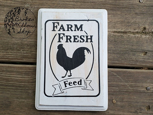 "READY TO SHIP Farm Chicken Wooden Wall Hanging 5"" x 7"""