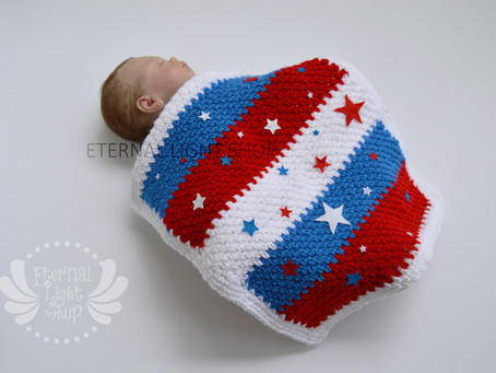 Baby Independence Day July 4th Stars Crochet Blanket