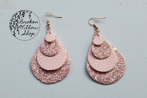 Pink, Chunky Glitter Faux Leather Teardrop Earrings