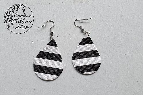 Black and White Stripes Faux Leather Teardrop Earrings