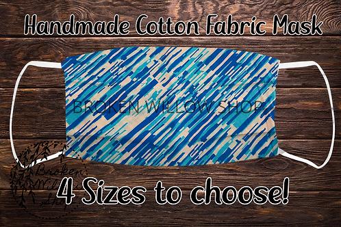 Blue Stripes Handmade 100% Cotton Face Mask, Choose Fr