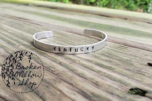 "Custom State Hand Stamped Bracelet 1/4"" x 6"""