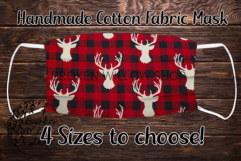 Buffalo Plaid Deer Handmade 100% Cotton Face Mask