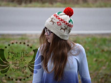 ANY COLORS Mistletoe Reindeer Crochet Beanie One Size Teen/Adult