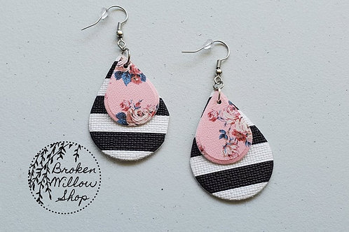 Pink Floral and Stripes Faux Leather Teardrop Earrings