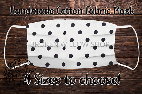 Black and White Dots Handmade 100% Cotton Face Mask, Choose Fr