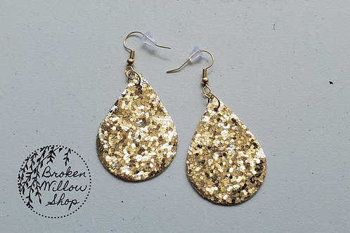 Gold Chunky Glitter Faux Leather Teardrop Earrings