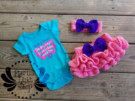 "Newborn ""Sorry Boys, Daddy Says I Can't Date Until I'm 30"" Crochet Headband, Onesi"