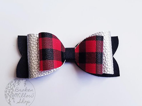 Buffalo Plaid Double Faux Leather Bow