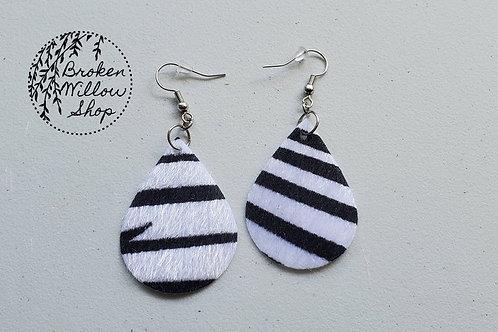 Fuzzy Zebra Stripes Faux Leather Teardrop Earrings