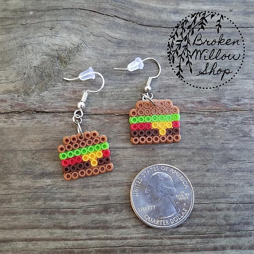 Little Hamburger Mini Perler Earrings
