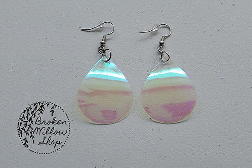 Iridescent Transparent Faux Leather Teardrop Earrings
