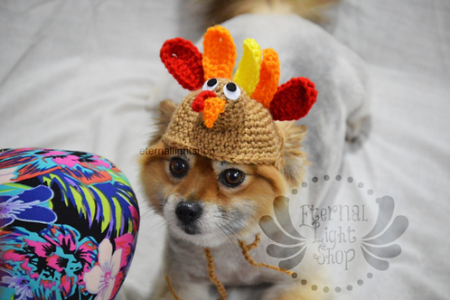 ANY Sizes/Colors Pet Turkey Hat Beanie (XS-XL)