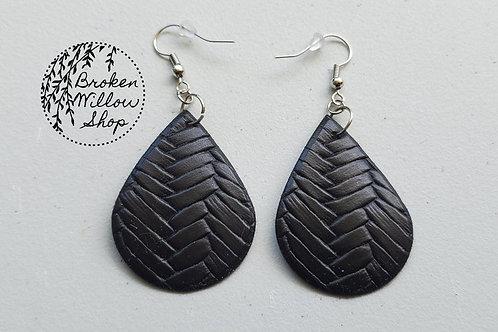 Black Basket Weave Textxure Faux Leather Teardrop Earrings