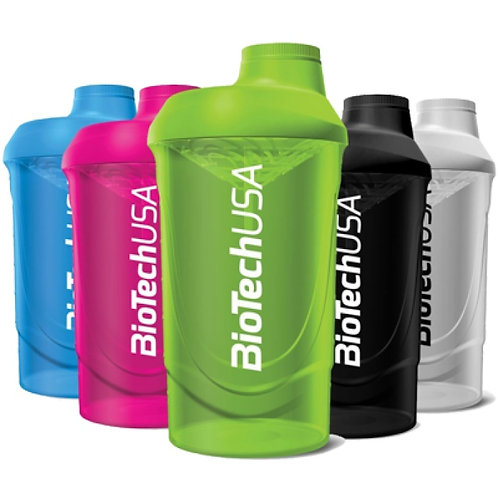 Shaker BiotechUSA 600ml. Coloris rose, bleu, vert, noir,  blanc, néon.