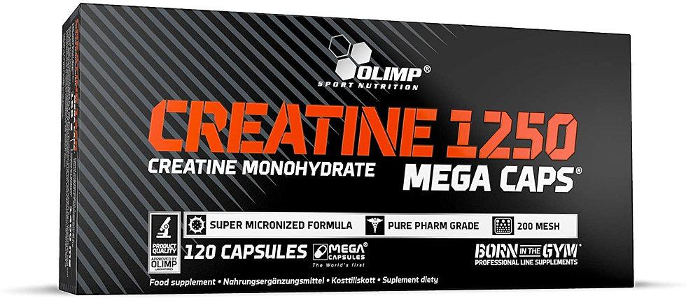 Créatine Mega 120 caps - Olimp Sport Nutrition. Augmente les performances, gains de force. Créatine monohydrate musculation.