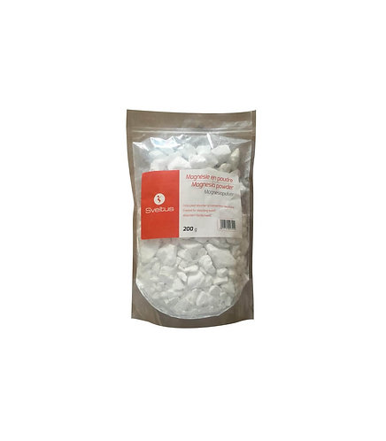 Magnésie poudre 200 g sachet - Sveltus. Conçue pour absorber la transpiration des mains. Anti glisse.