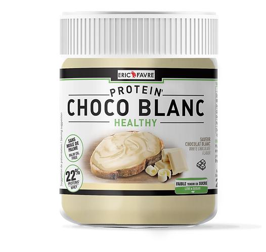 Choco Blanc Protéinée 250g. Chocolat blanc diététique sans huile de palm, sans sucres ajoutés, végan - Eric Favre.