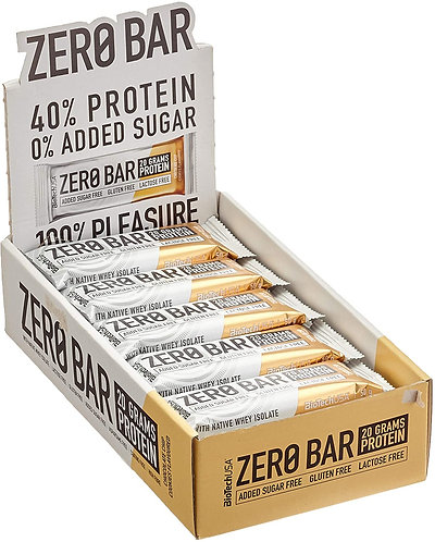 BioTechUSA Zero Barre protéinée 50 g. Faible en sucres et sans sucres ajoutés. sans gluten, sans lactose et sans aspartame.