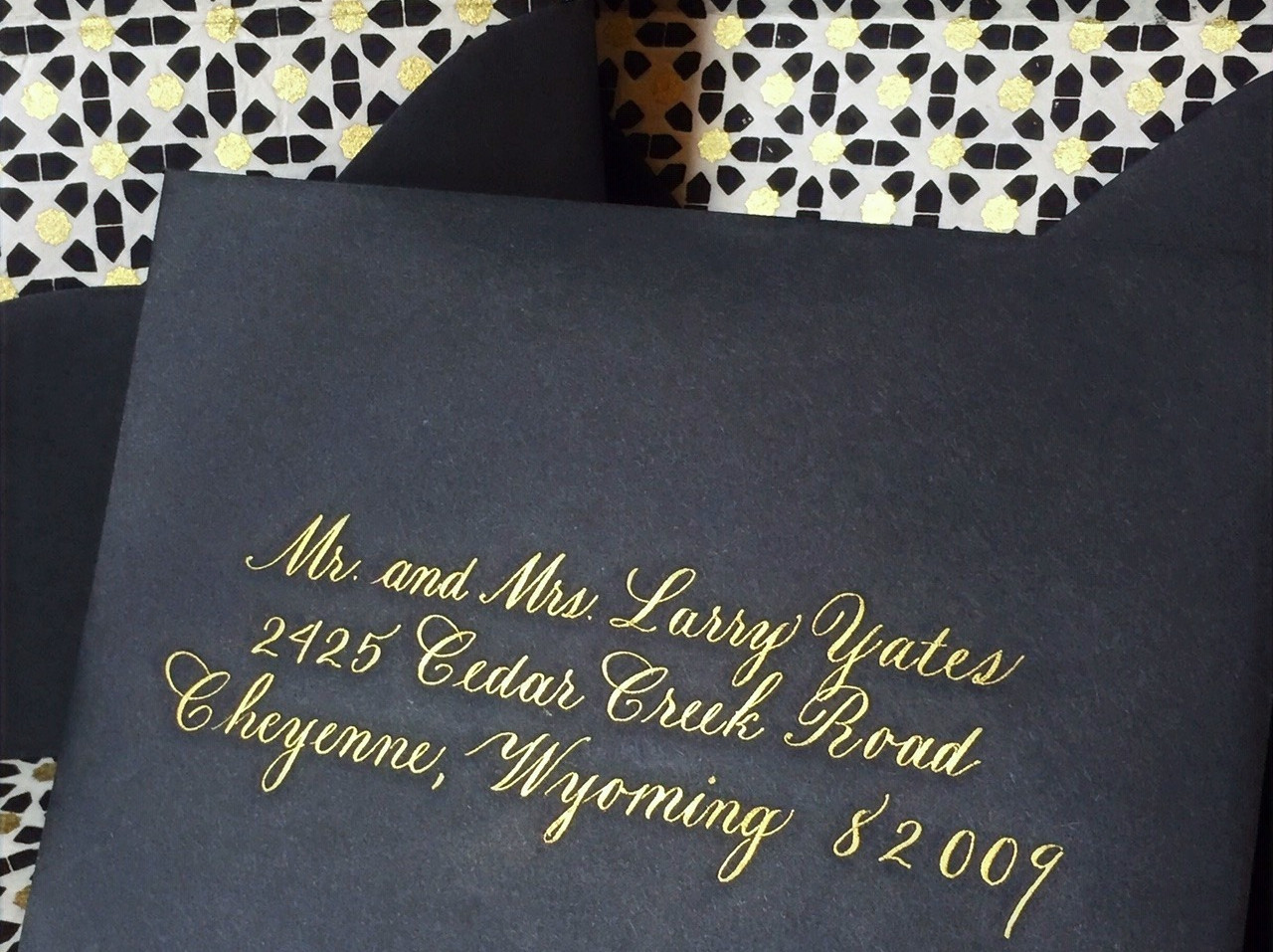 Copperplate Calligraphy in gold ink