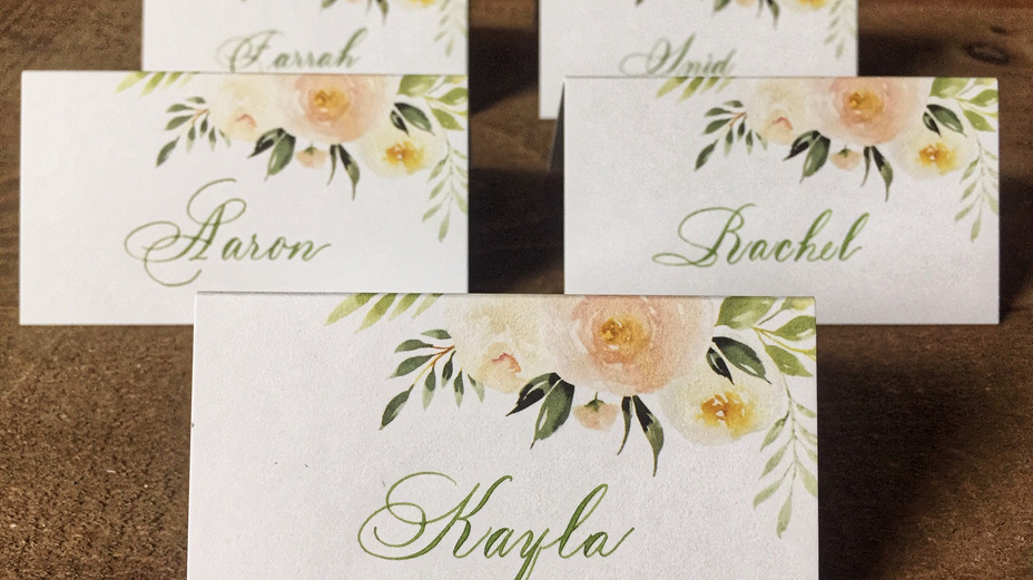 Bickham Swash Calligraphy place cards in green ink