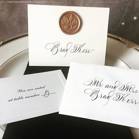 Escort card and place card with wax seal