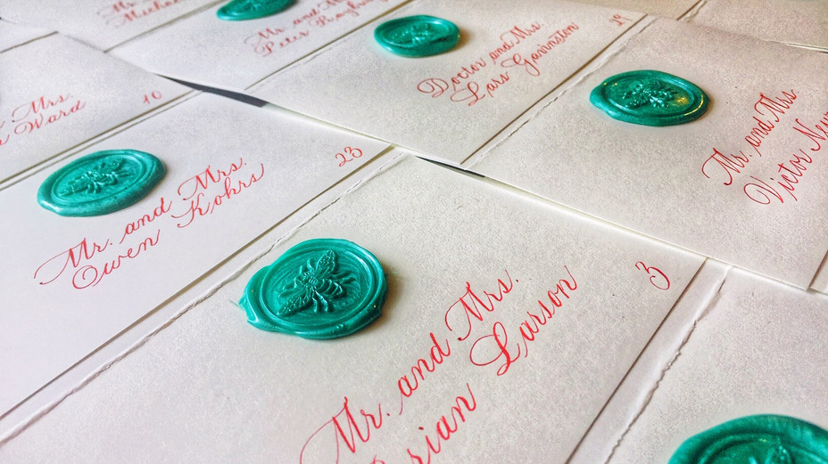 Bickham lettering with bee wax seals