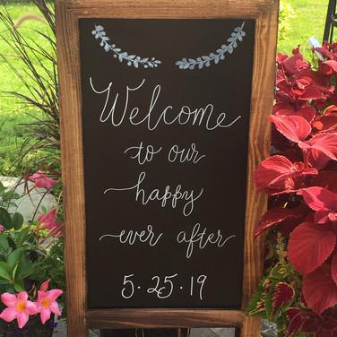 Wedding Sign in modern lettering