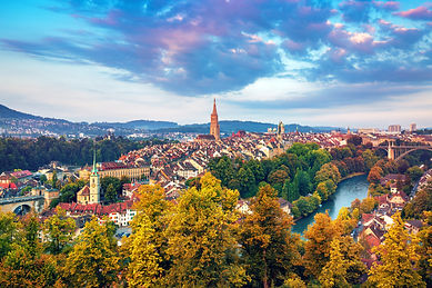 Morning view on old town of Bern city at