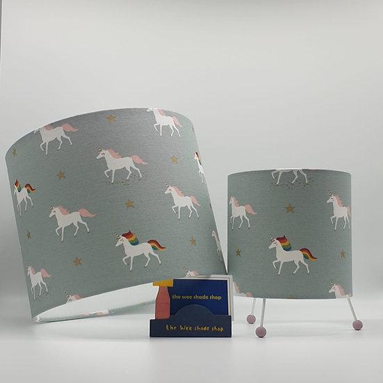 Sophie Allport Rainbow Unicorn Print Mini Lamp and matching pendant