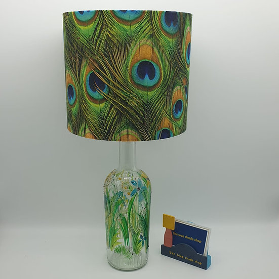 Peacock Feather Hand Painted Bottle Lamp
