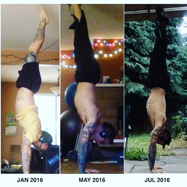 During this time period, I went from a 5 second HS to a 65 second handstand, and also achieved the straddle press handstand.
