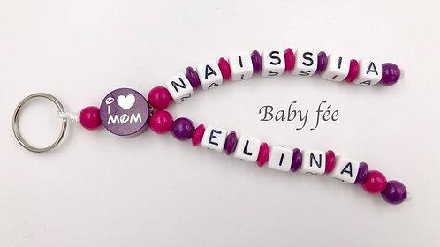 Porte-clefs personnalisé Love Mom & Dad - 2 prénoms