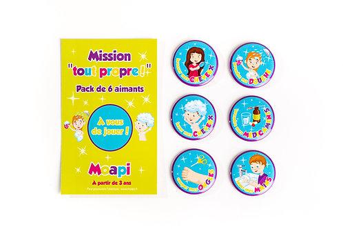 """Pack Mission  """"tout propre""""! - 6 aimants"""