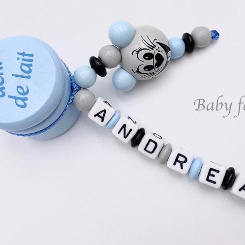 Boite à dents de lait personnalisée souris bleue