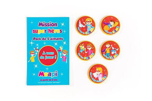 Pack Mission super héros - idéal 3 à 5 ans - 5 aimants