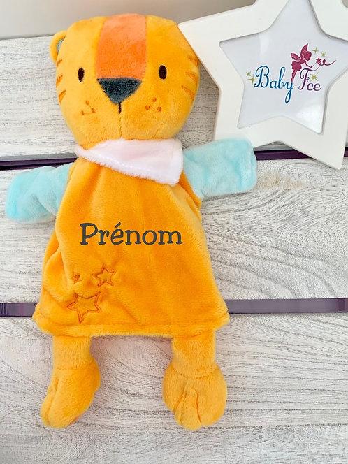 Doudou personnalisé marionnette lion