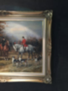British Hunting Oil Painting with Black Faux Croc Wallpaper