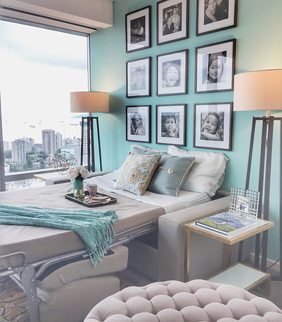 Seafoam blue guest room design inspirations